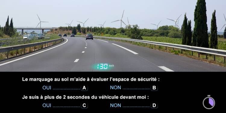 Code de la route, question 1 : distances de sécurité
