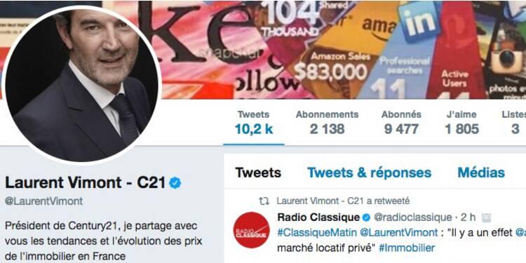 Le compte Twitter de Laurent Vimont, le patron de Century 21 France