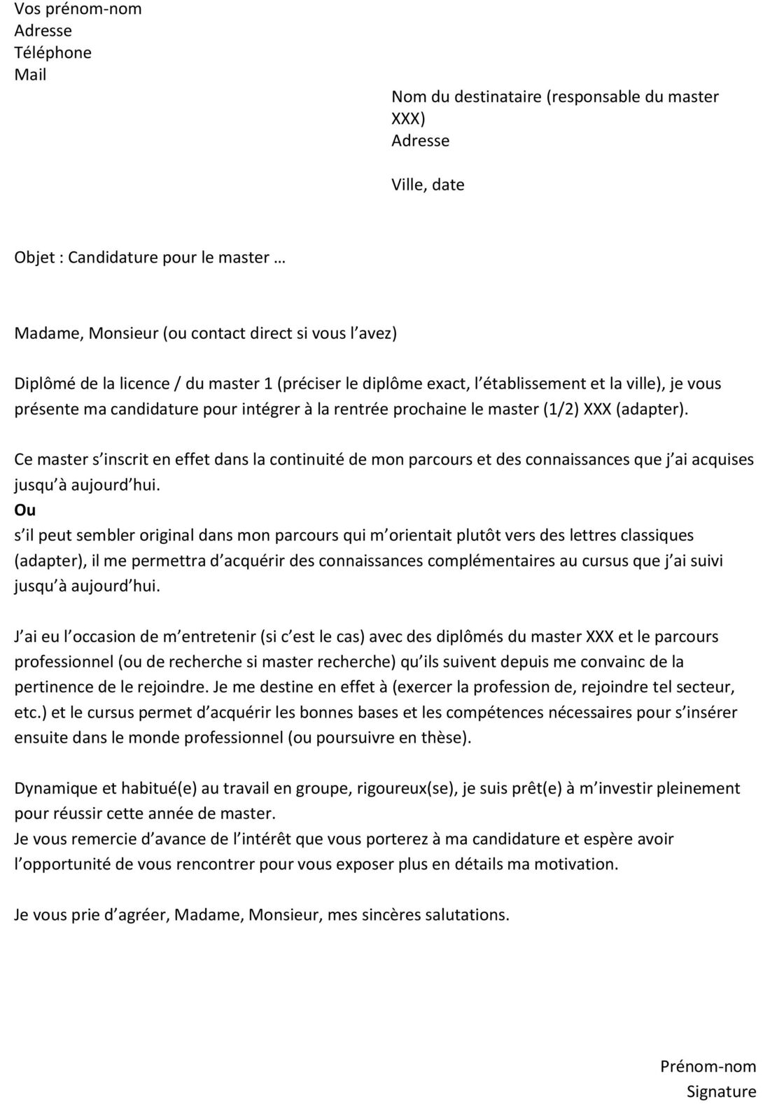 lettre de motivation pour universit u00e9 staps