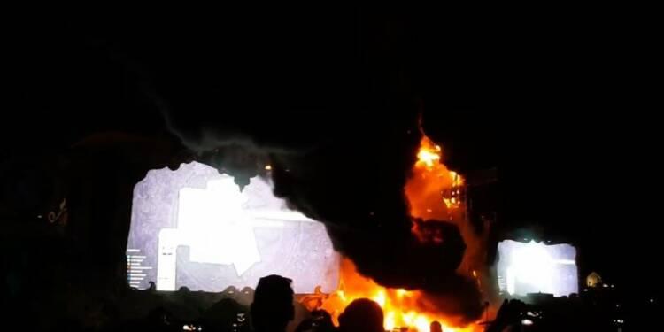 Espagne: spectaculaire incendie sans victimes lors d'un festival
