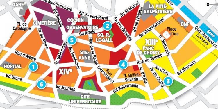 Immobilier à Paris : les prix, rue par rue, dans les 13ème et 14ème arrondissements