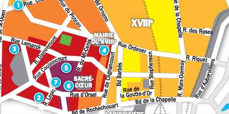 Immobilier à Paris : les prix, rue par rue, dans le 18ème arrondissement