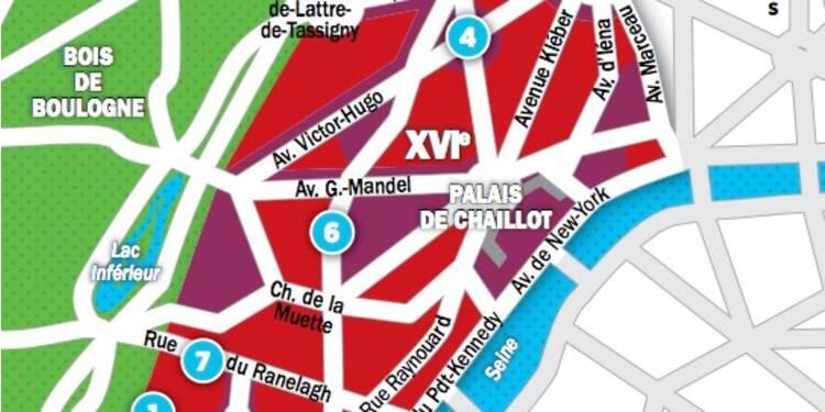 Immobilier à Paris : les prix, rue par rue, dans le 16ème arrondissement