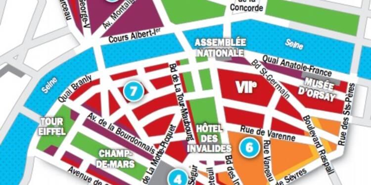 Immobilier à Paris : les prix, rue par rue, dans les 7ème et 8ème arrondissements