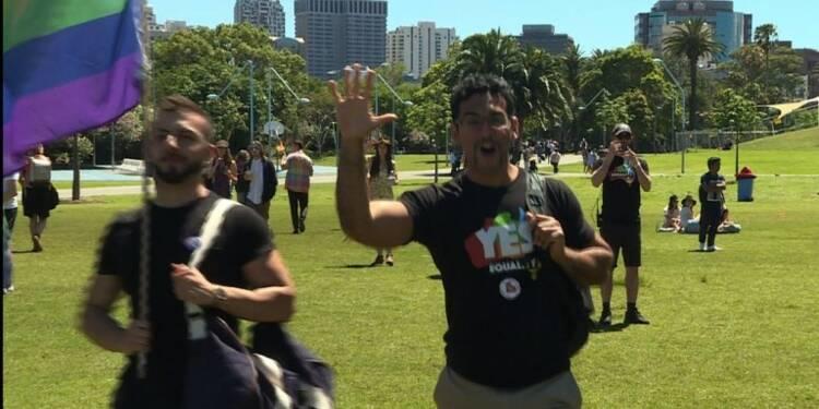 Les Australiens fêtent la victoire du
