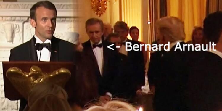 Emmanuel Macron et Bernard Arnault lors du dîner à la Maison Blanche