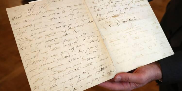 Une lettre de suicide de Baudelaire bat toutes les prévisions aux enchères