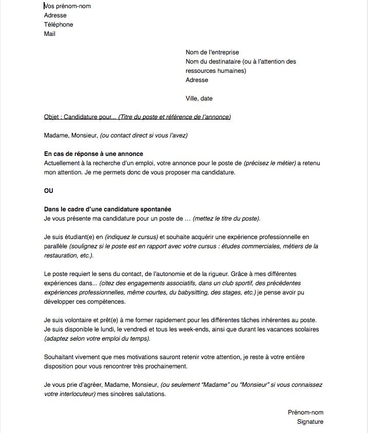 Lettre De Motivation Pour Un Job étudiant Capital Fr