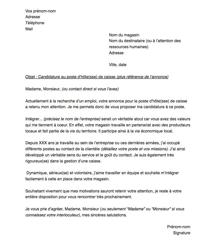 Lettre De Motivation Pour Un Poste D Hote Sse De Caisse Capital Fr