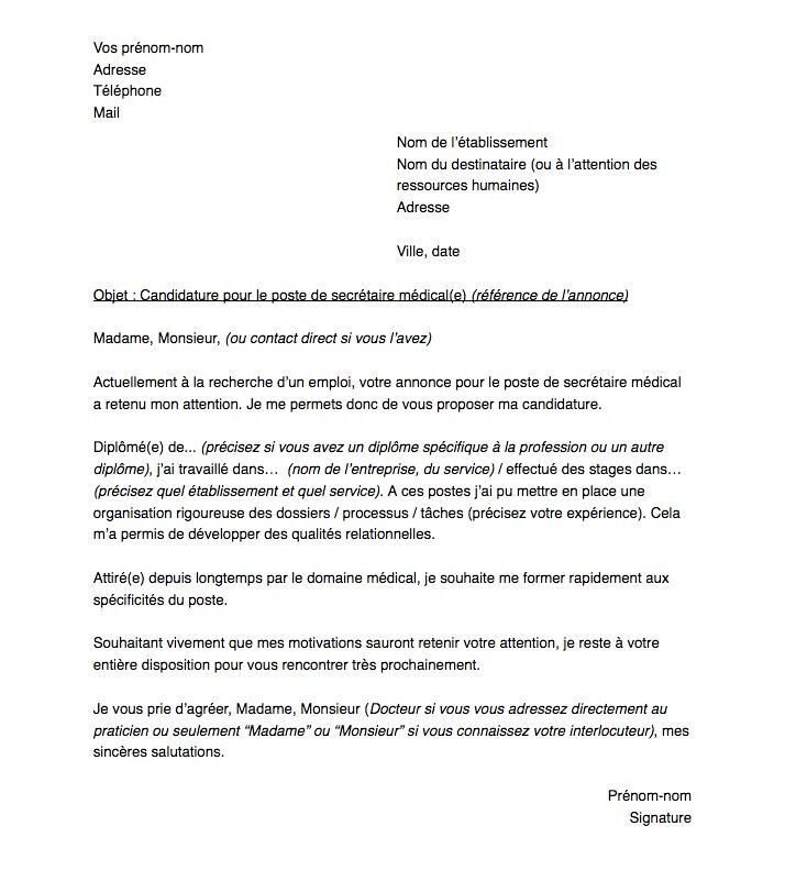 Lettre De Motivation Pour Un Poste De Secretaire Medical E