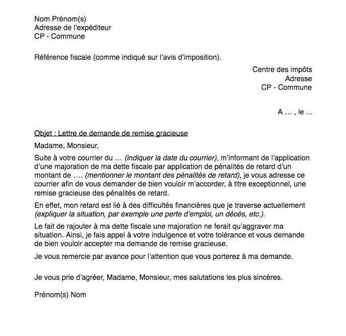 Demande De Remise Gracieuse Lettre Et Démarches Capital Fr