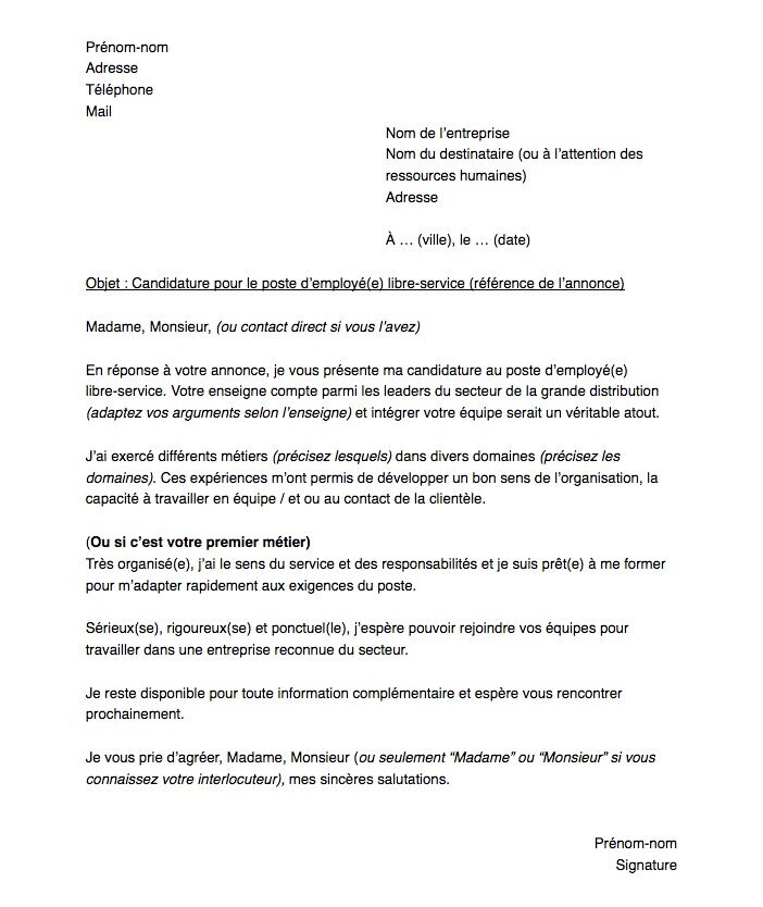 Lettre De Motivation Pour Un Poste D Employe De Libre Service