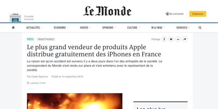 Attention à ce faux site du Monde qui promet des iPhone gratuits