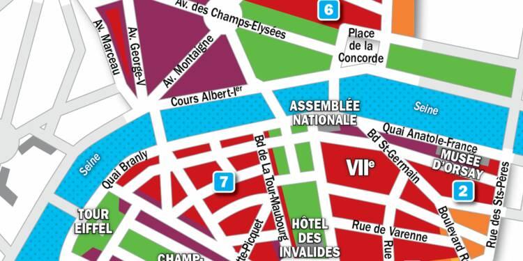 Immobilier à Paris : la carte des prix 2019 dans les 7e et 8e arrondissements