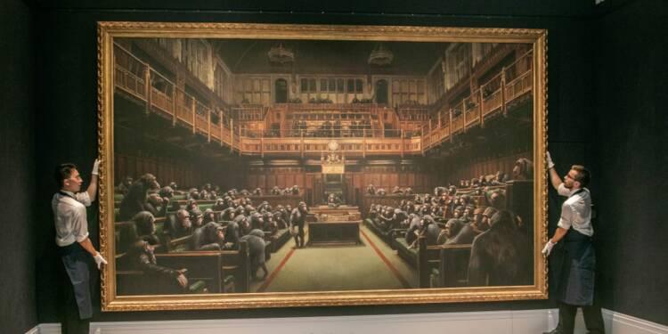 Enchère record pour le Parlement des singes de Banksy