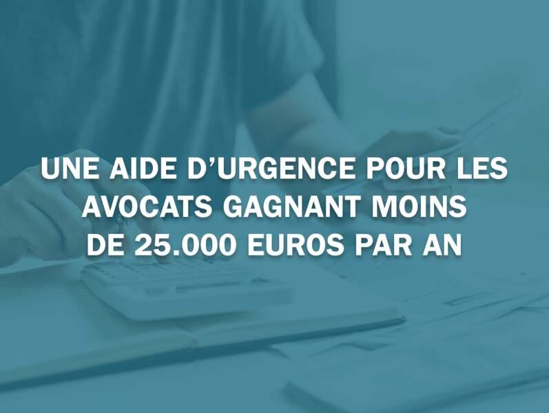Une aide d'urgence pour les avocats gagnant moins de 25.000 euros par an