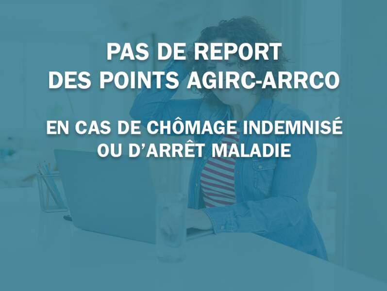 Pas de report des points Agirc-Arrco en cas de chômage indemnisé ou d'arrêt maladie