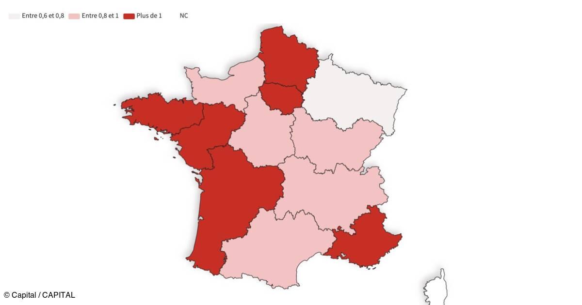 Taux de reproduction de l'épidémie : la France repasse au-dessus de 1, le détail par régions