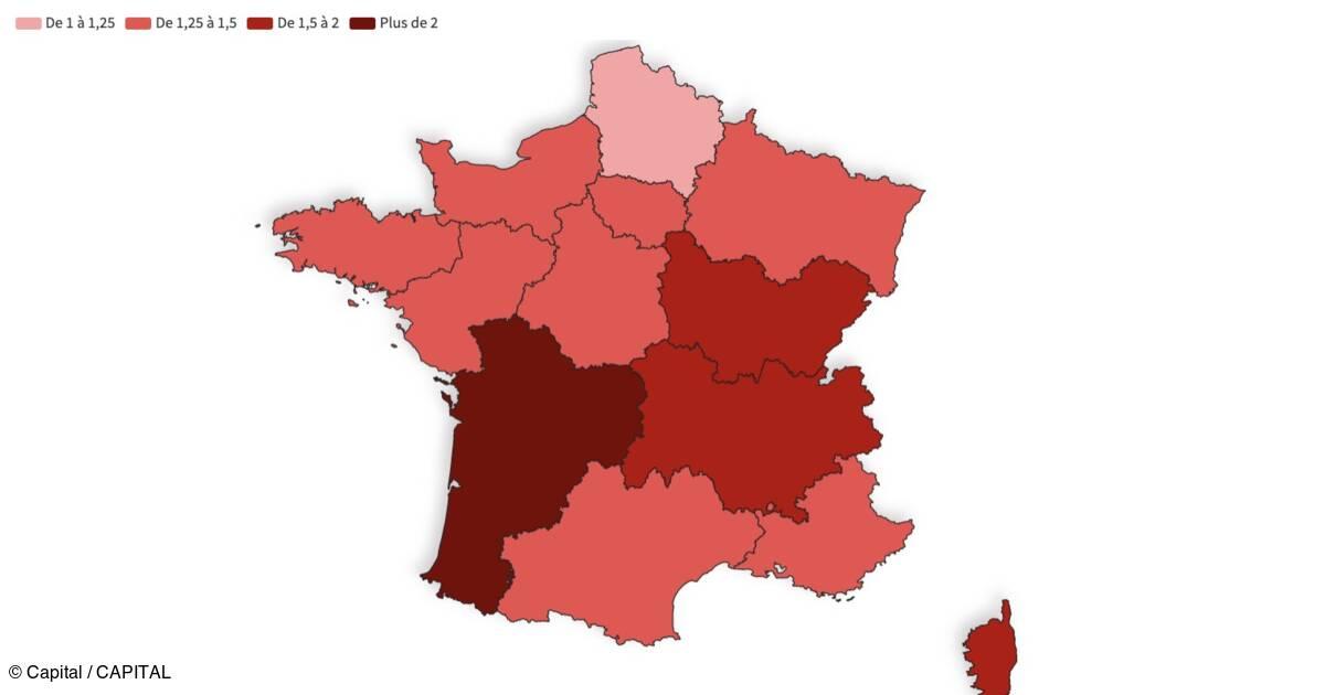 Taux De Reproduction De L Epidemie La Nouvelle Aquitaine Au Dessus De 2 Notre Carte De France Des Regions Capital Fr