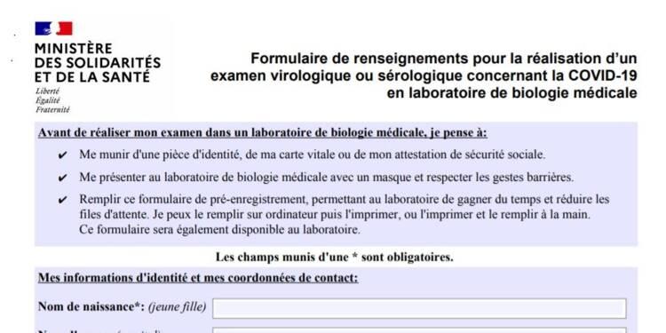 Covid-19 : le formulaire à remplir avant un test de dépistage en laboratoire