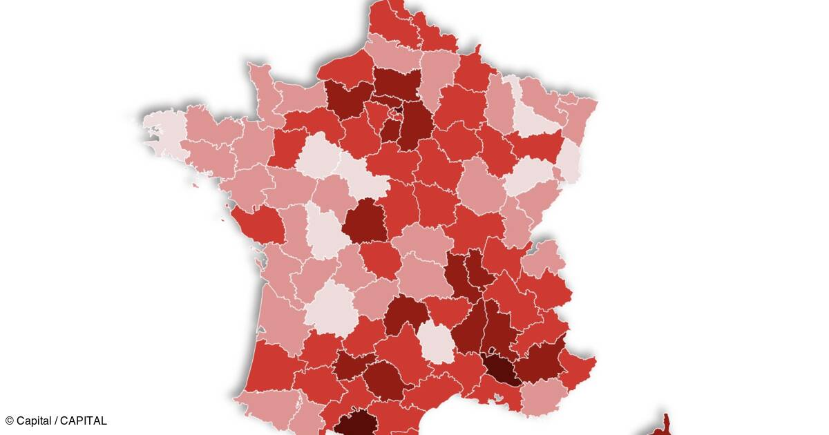 Reanimation Le Taux D Occupation Des Lits Grimpe Notre Carte De France Par Departement Capital Fr