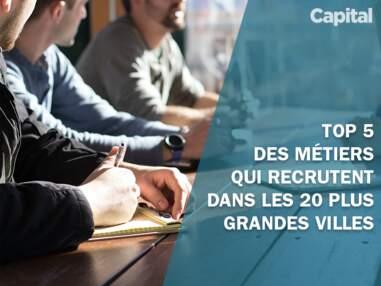 Le top 5 des métiers qui recrutent dans les 20 plus grandes villes françaises