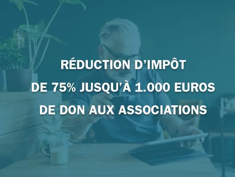 Réduction d'impôt de 75% jusqu'à 1.000 euros de don aux associations
