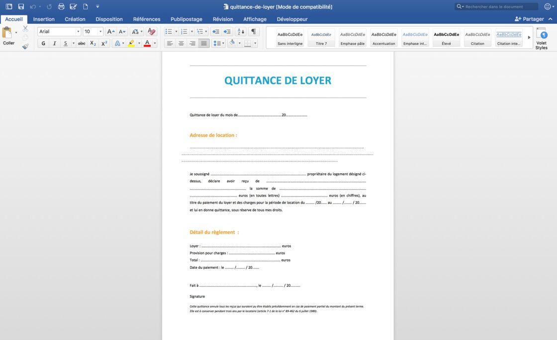 Comment Faire Sa Quittance De Loyer Sur Word