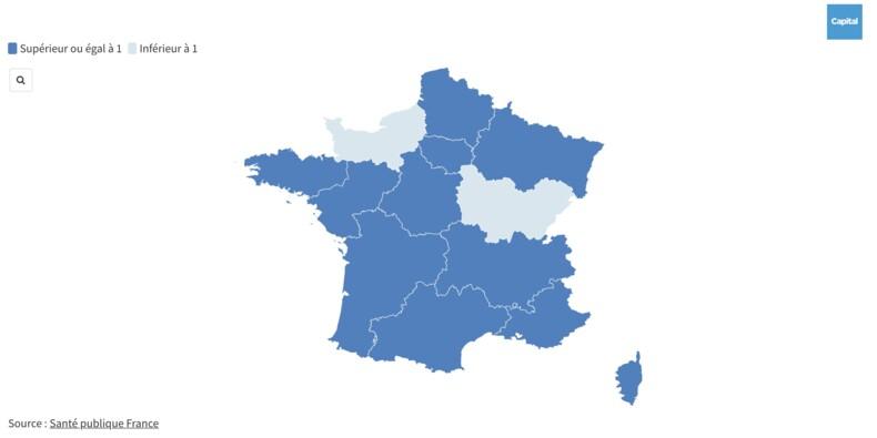 Le taux de reproduction n'a pas augmenté... pour l'instant. Notre carte de France.