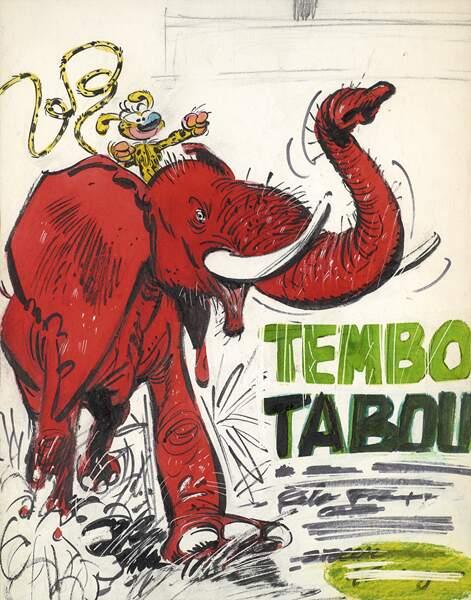 """Franquin : le projet de couverture """"Spirou et Fantasio Tembo Tabou"""""""
