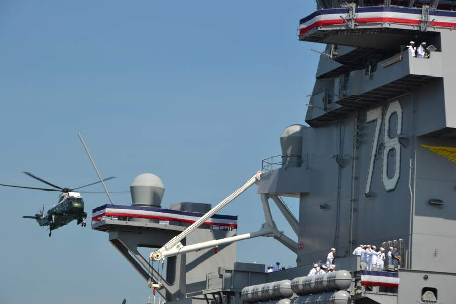 Le Président Trump est arrivé à l'inauguration à bord de Marine One