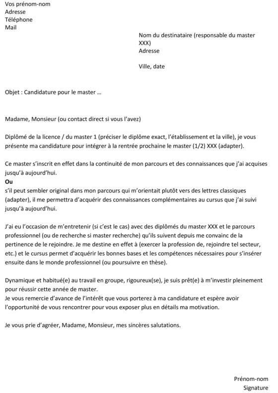 modele lettre de motivation candidature master 1