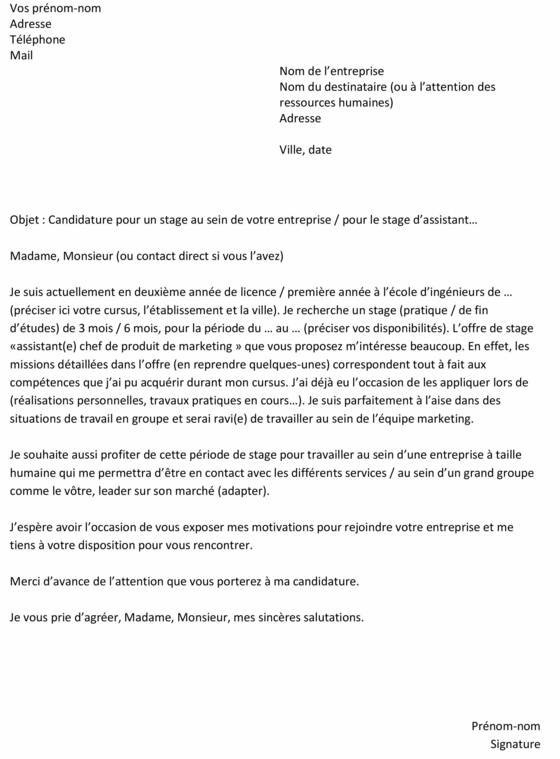 Lettre De Motivation Pour Un Stage Un Exemple Gratuit Capital Fr