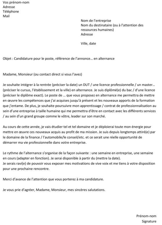 lettre de motivation immobilier Lettre de motivation pour une alternance : un exemple gratuit  lettre de motivation immobilier