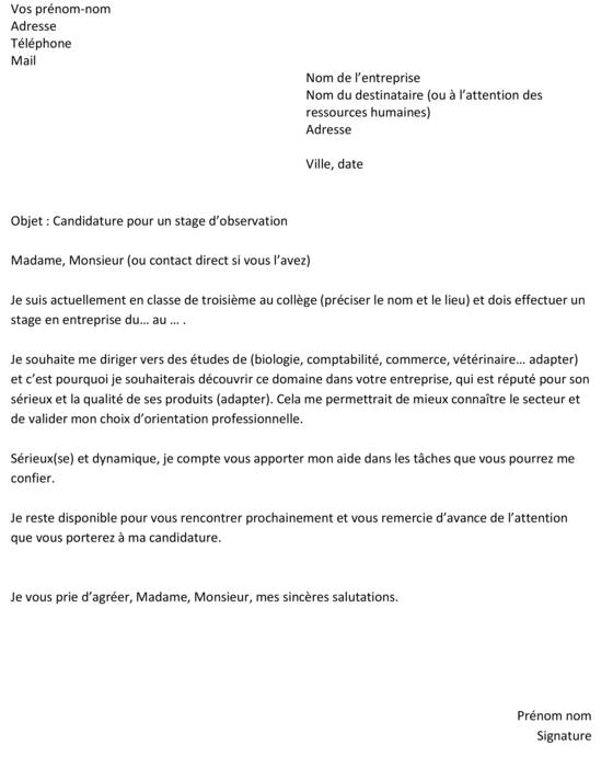 modele lettre de motivation stage 3eme