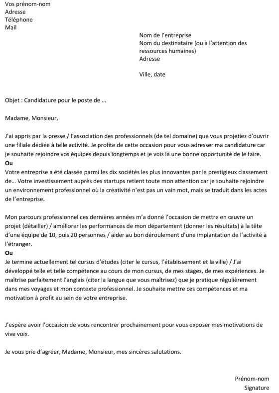 de lettre de motivation Lettre de motivation : un exemple gratuit   Capital.fr de lettre de motivation