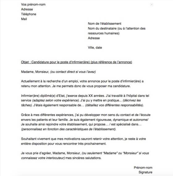 Lettre De Motivation Pour Un Poste D Infirmier ère Capital Fr