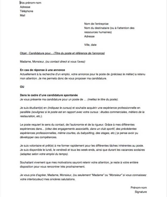 lettre de motivation pour un job  u00e9tudiant