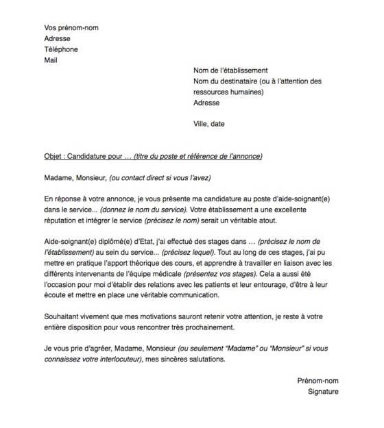lettre de motivation pour un poste d u0026 39 aide soignant e