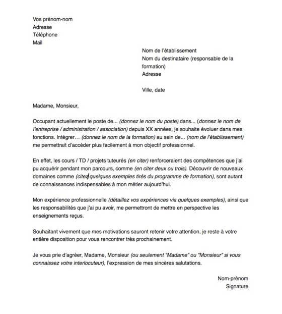 lettre de motivation pour une formation