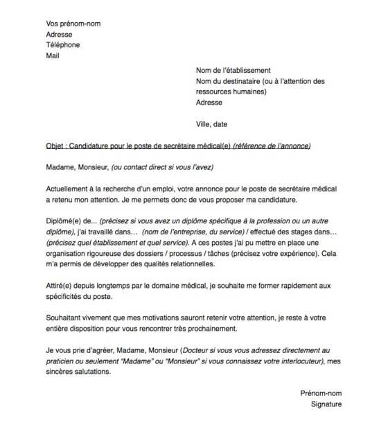 Lettre De Motivation Pour Un Poste De Secrétaire Médical E
