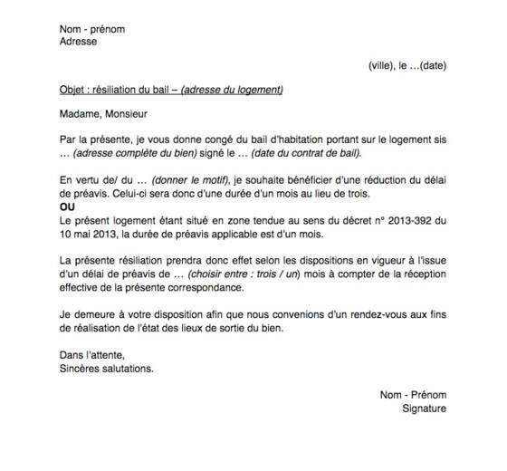 Résiliation D Un Bail D Habitation Délai Et Modèle De