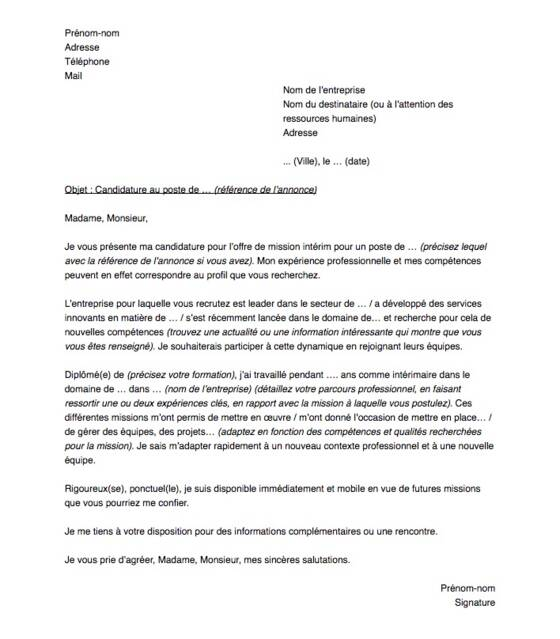 lettre de motivation pour postuler en agence d u0026 39 int u00e9rim