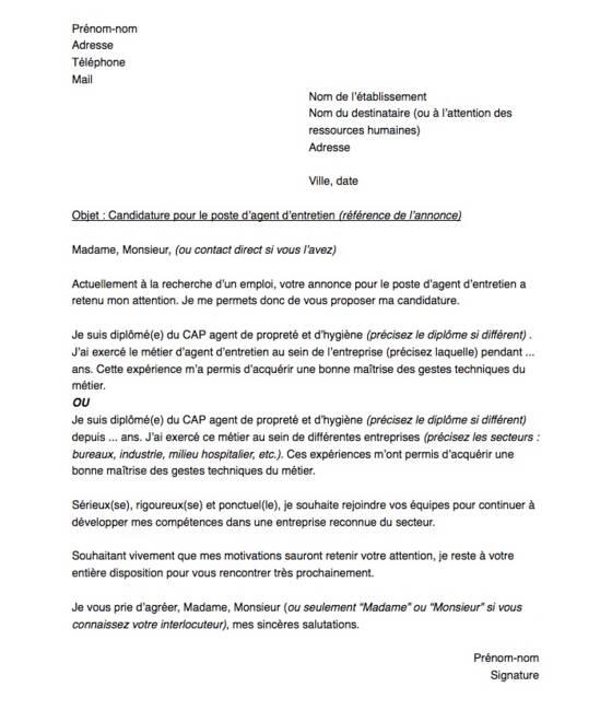 lettre de motivation pour  u00eatre agent d u0026 39 entretien