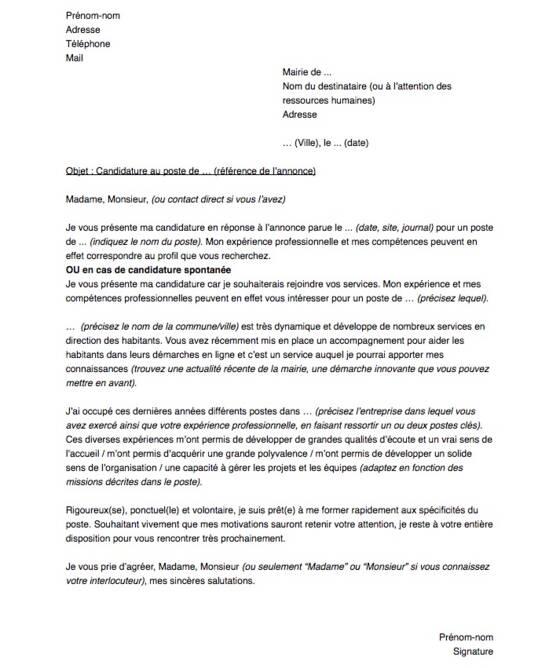 lettre de motivation pour un emploi en mairie
