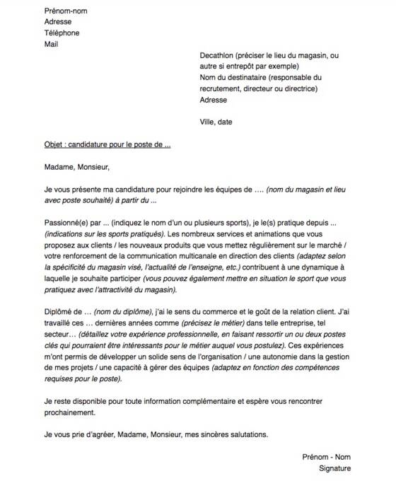 Lettre De Motivation Pour Un Poste Chez Decathlon Capital Fr