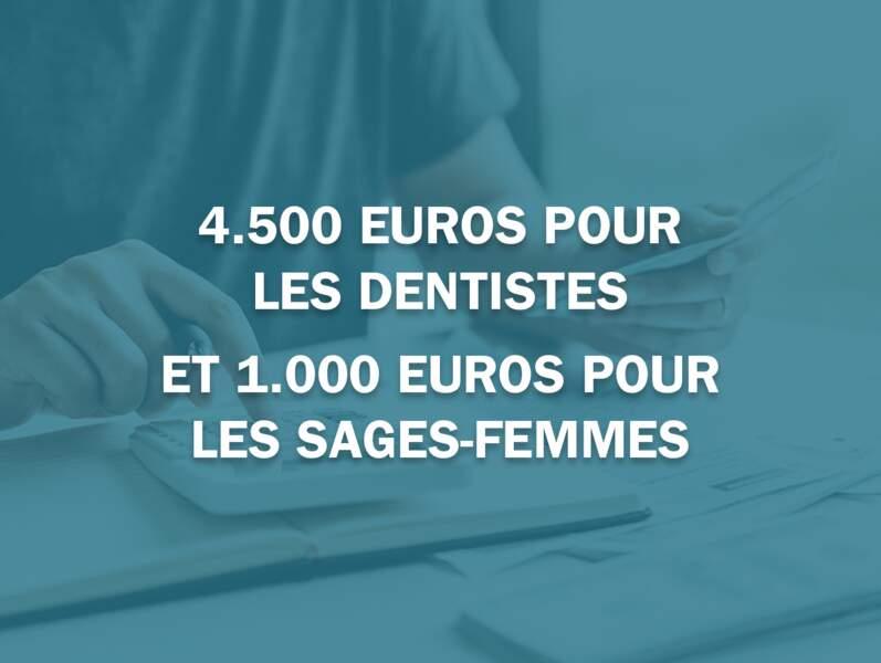 4.500 euros pour les dentistes et 1.000 euros pour les sages-femmes