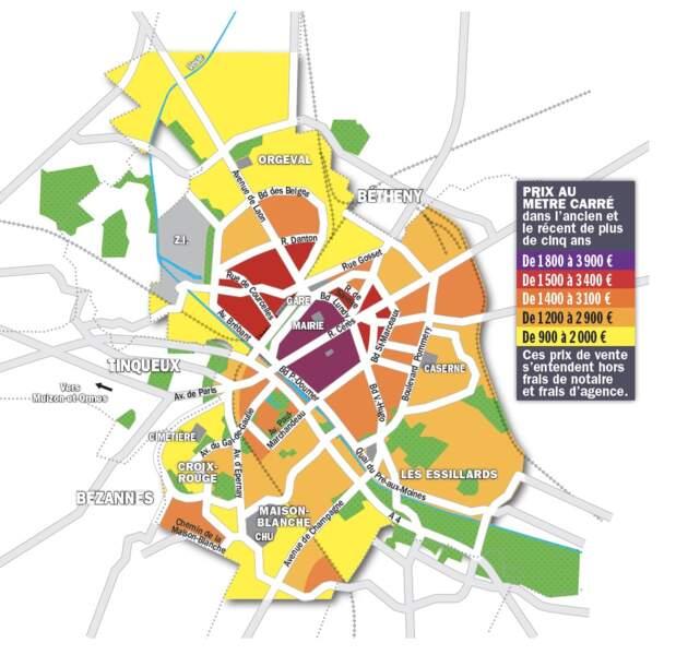 Reims : un pic d'inflation de 15% aux adresses prisées du centre-ville