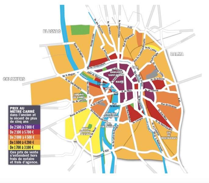 Toulouse : la cote de 5 quartiers dépasse 5.000 euros le mètre carré